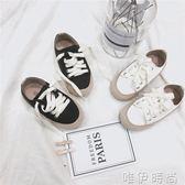 兒童帆布鞋 童裝童鞋男女寶寶百搭休閒鞋韓版兒童系帶包邊系帶帆布鞋 唯伊時尚