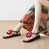 涼鞋花朵涼鞋女夏平底百搭復古民族風平跟海邊度假沙灘鞋女鞋