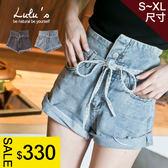 LULUS神褲2.0雙釦腰繫帶高腰牛仔短褲S-XL-2色 現+預 【04020498】