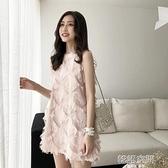 復古韓國chic風氣質女人味流蘇毛毛背心裙子氣質純色無袖洋裝潮