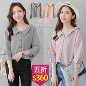【五折價$360】糖罐子鬆緊領格紋排釦棉麻上衣→預購【E51443】