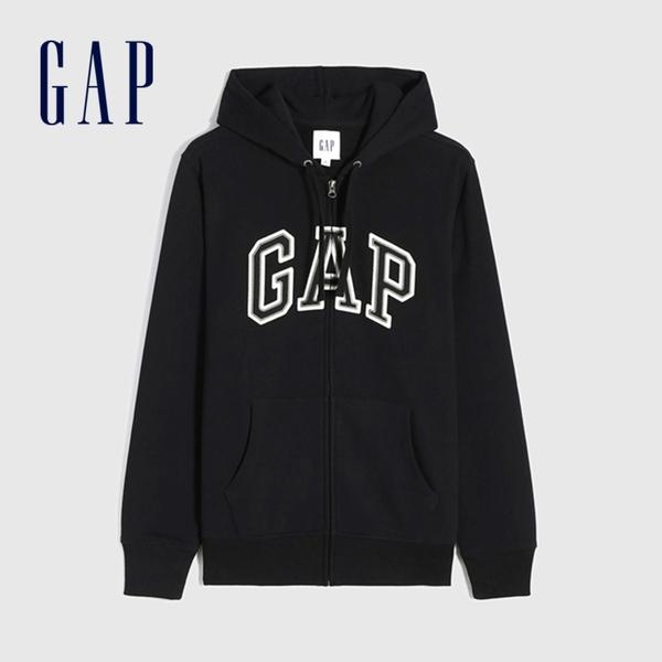 Gap男裝 碳素軟磨系列 Logo法式圈織開襟連帽外套 853131-黑色