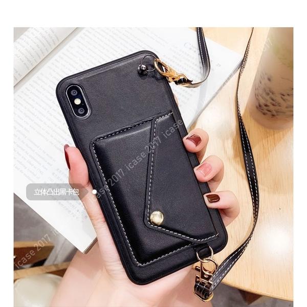 皮質錢包款 iPhone SE2 XS Max XR i7 i8 plus 手機殼 手機套 斜掛背帶 插卡口袋 悠遊卡 掛脖繩