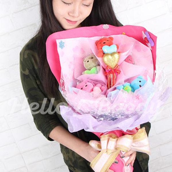 Hello Boody❤︎正版五色小熊造型娃娃花束 小熊娃娃 小熊愛心玩偶 情人花束