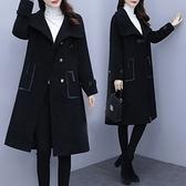 外套 大衣 大碼女裝年秋冬新款寬松夾棉中長款毛呢黑色顯瘦過膝大衣M031韓衣裳