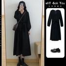 2021年新款春秋裝黑色法式小眾復古設計感赫本風洋裝子春款女裝 設計師