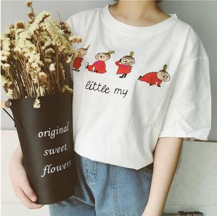 【AU17】新款ulzzang學院風軟妹娃娃百搭圓領寬鬆短袖T恤9710