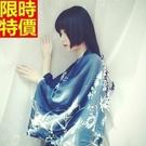 和服外套-鳳凰印花寬鬆絲綢防曬和風女罩衫68af2[時尚巴黎]
