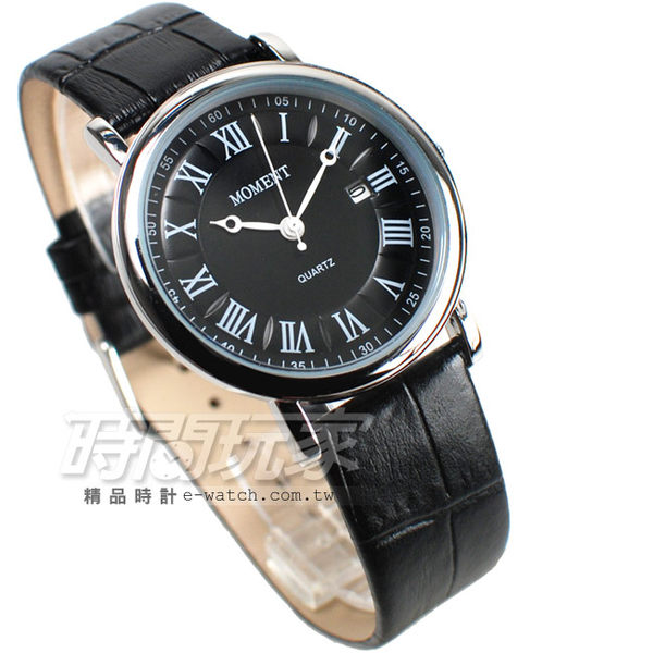 MOMENT舜時 日本機蕊 羅馬風情 真皮錶帶 日期顯示 男錶 MO8060黑大 羅馬數字時刻