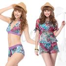 ☆小薇的店☆MIT聖手品牌亮眼彩繪風時尚三件式比基尼泳裝特價790元 NO.A93416(M-XL)
