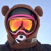 滑雪頭盔 滑雪頭套抓絨加厚護臉套頭帽頭盔套連帽面罩冬季戶外防風保暖裝備YYJ 卡卡西
