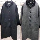 外套 韓版 排釦長版毛料外套長大衣 花漾小姐【現貨】