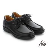 A.S.O  手縫氣墊 綁帶壓紋牛皮休閒鞋 黑