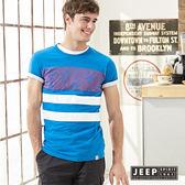 【JEEP】美式印花純棉短袖TEE 水藍色 (合身版)