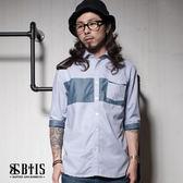 【BTIS】七分袖 拼接襯衫 / 灰色