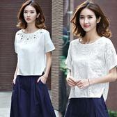 刺繡棉麻短袖T恤女裝夏季寬鬆大碼半袖上衣百搭文藝亞麻白色體恤 美芭