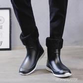 男士雨鞋雨靴男防滑防水膠鞋男厚底廚房鞋子冬天加絨保暖水靴套鞋 【傑克型男館】
