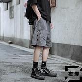 紐扣五分褲男士短褲潮流休閑褲子寬松中褲夏季【左岸男裝】