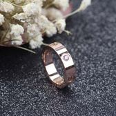 日韓不掉色鍍18K玫瑰金戒指網紅情侶指環love男女簡約鈦鋼飾品