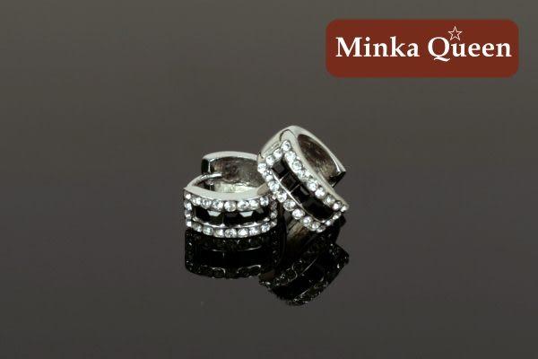 德國鈦鋼 黑色三排滿鑽造型 精緻水鑽、鋯石抗敏易扣耳環(一對)(14 mm)