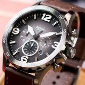 FOSSIL 皮革豪邁立體數字腕錶 JR1424 熱賣中!