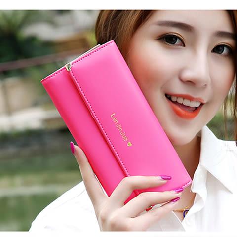 長款錢包女手拿包新款韓版簡約時尚甜美多功能大容量皮夾錢夾  卡布奇諾