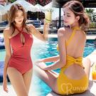 性感 露胸 繞脖 後腰交叉 純色 連身泳裝 時尚特色 比基尼 舒適無鋼圈 泳衣