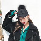 貉子毛球鴨舌帽女韓版秋冬毛線馬術帽百搭保暖針織帽