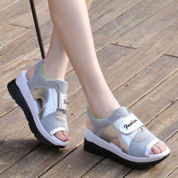 丁果►輕巧顯瘦涼鞋 透氣網布鏤空搖搖鞋 厚底休閒鞋*4色