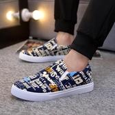 鞋子男鞋豆豆休閒鞋帆布鞋一腳蹬懶人板鞋老北京布鞋工作軟底  蘑菇街小屋