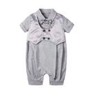 短袖連身衣 復古 西裝背心 男寶寶 假兩件 爬服 哈衣 小紳士 小花童 Augelute Baby 60357