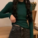 長袖 女裝2021秋季新款韓版百搭木耳邊半高領打底衫上衣修身長袖針織衫【快速出貨八折搶購】