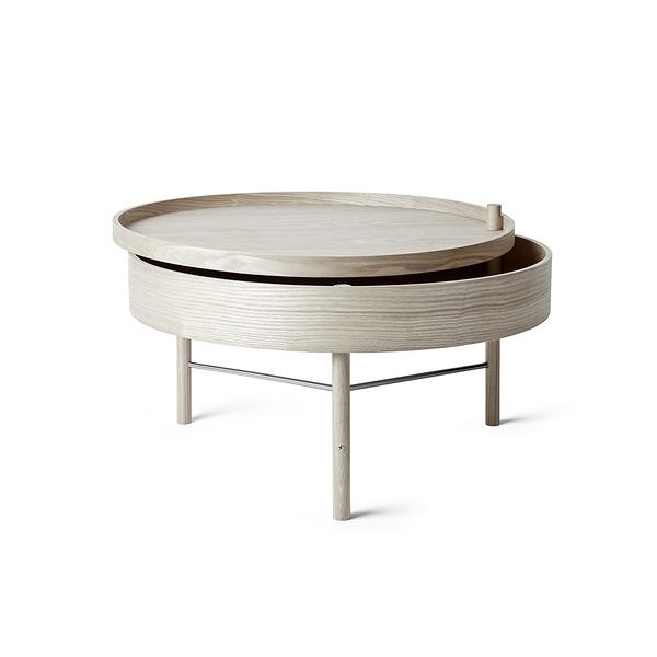 丹麥 Menu Turning Table 65cm 迴旋系列 收納式 木質咖啡桌(淺色橡木 黑色支架)