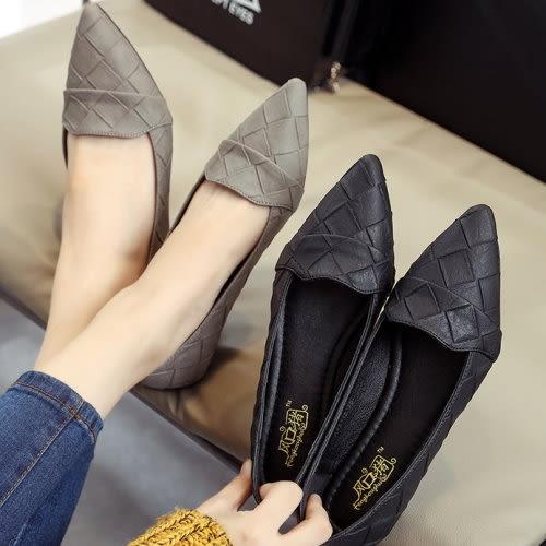 尖頭百搭格子紋休閒平底包鞋.白鳥麗子