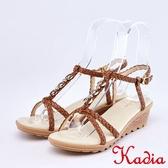 kadia.編織交叉牛皮涼鞋(9118-70咖啡色)