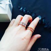 韓版小清新紅色鋯石愛心戒指寬版水鑽鋯石心形開口指環尾戒戒子女新年下殺