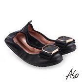 A.S.O 輕履鞋 小羊皮立體釦飾可折疊娃娃鞋 黑