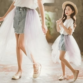 女童半身裙夏季2020新款韓版兒童紗裙蓬蓬裙潮童裝牛仔網紗半裙女 小天使