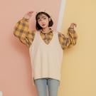 春秋新款套裝 棉法蘭絨格紋襯衫+毛衣長版背心 (灰藍 薑黃 皮粉 卡其 )