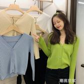 2019初秋新款韓版短款針織開衫寬鬆V領上衣網紅長袖毛衣外套女『潮流世家』