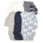 Carter s 長袖包屁衣 活肩六件組 純棉深藍犀牛 男寶寶【CA126G892】