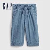 Gap女幼童 輕薄蝴蝶結寬褲 685494-淺藍色