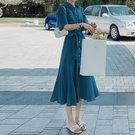 雪紡洋裝收腰顯瘦氣質大碼女裝2021夏胖mm法式短袖襯衫魚尾長裙 喵小姐