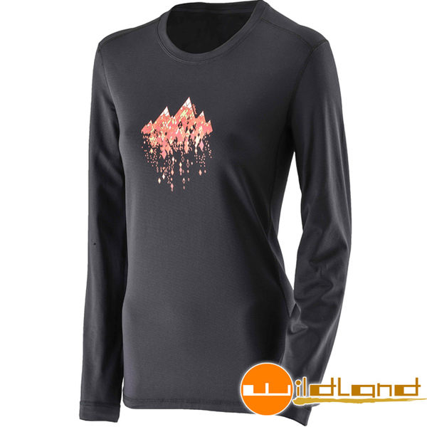 Wildland 荒野 0A22655-54黑色 女遠紅外線印花保暖衣 休閒衫/彈性/透氣/中層衣/冬季保暖服飾