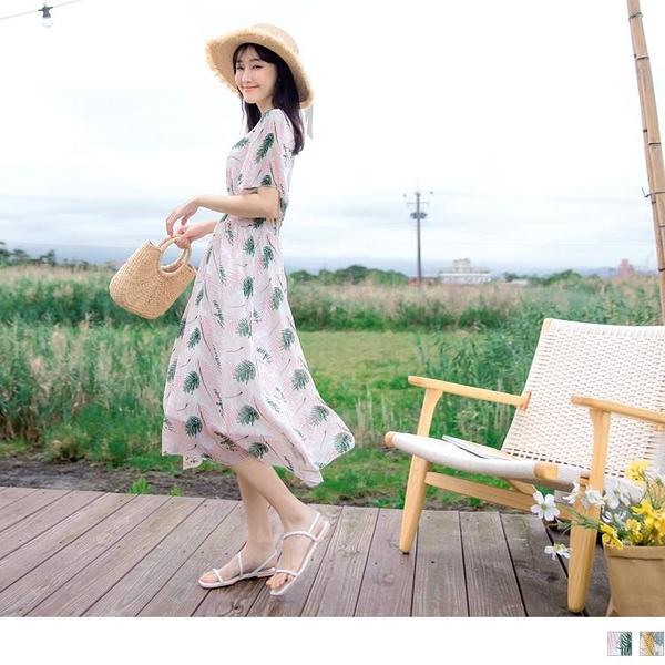 《DA7395》熱帶樹葉渡假風印花V領雪紡長洋裝 OrangeBear