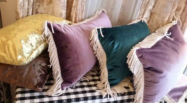 法式(絨布)枕系列~63CM*41CM(正面紫色背面灰色)