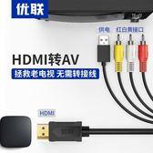 電視轉接頭 HDMI轉AV轉換線小米大麥盒子機頂盒電腦視頻高清接口轉接老電視轉換器RCA三色1080P 1色