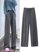 寬褲女新款垂感坑條拖地褲c網紅寬鬆休閒長褲潮復古高腰直筒寬褲女春季新品