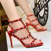 高跟涼鞋大碼女夏細跟2018新款韓版性感露趾百搭鉚釘一字帶羅馬鞋  AB5360 【3C環球數位館】