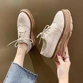復古皮鞋厚底鬆糕鞋女夏季2021年新款小皮鞋英倫風漆皮單鞋百搭復古樂福鞋 JUST M